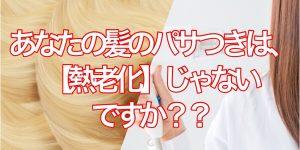 あなたの髪の毛のパサつきの原因って【熱老化】じゃないですか??